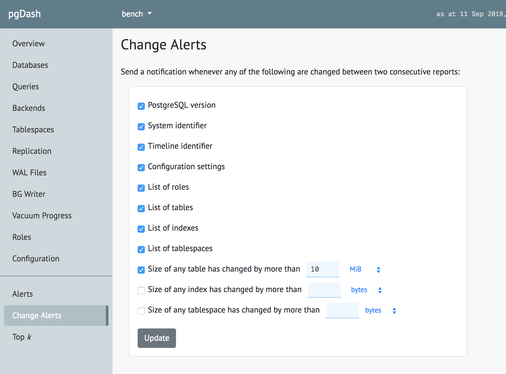 The UI in pgDash for setting change alerts